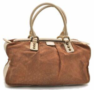 Auth-Louis-Vuitton-Monogram-Mini-Lin-Trapeze-GM-Hand-Bag-Brown-M40060-LV-A8342