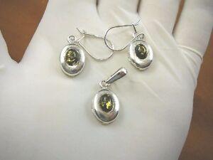(PE36-58) green AMBER oval .925 Sterling SILVER EARRINGS dangle + pendant set