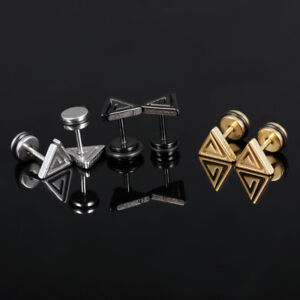 Triangle-Silver-Black-Yellow-Gold-GP-Surgical-Stainless-Steel-Stud-Earrings-Gift