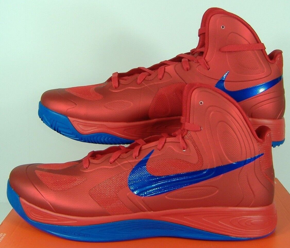 New Mens 18 NIKE Zoom Hyperfuse Hi Top Red bluee Basketball shoes  130 525022-601