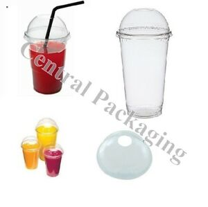 1000 x 20oz Smoothie Cups and Domed Lids Clear Plastic Party Cup Milkshake juice