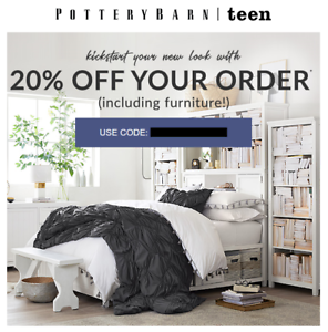 20% Off POTTERY BARN TEEN Entire Purchase Order (exp. 7/19 ...