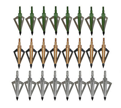 18X Green/Golden/Silver 3Blade Broadheads 125Grain Archery Arrow Heads Hunting