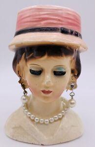 Vintage-3-5-034-Lady-Head-Vase-Pink-Hat-Pearl-Necklace-amp-Earrings