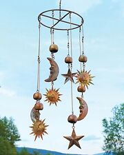 Sun Moon Stars Celestial Hanging Mobile Metal Wind Catcher Chime Copper Patina