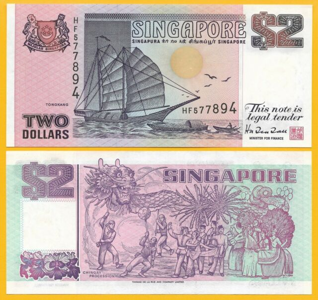 1997 SINGAPORE 2 DOLLARS P-34 UNC/>TONGKANG JUNK CHINGAY HARRISON /& SONS LIMITED