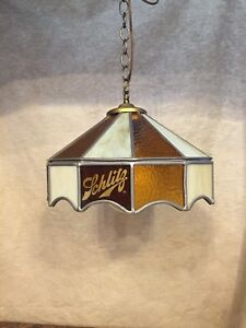 Details About Schlitz Beer Vintage Stained Glass Hanging Bar Lamp