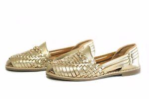 d1c38b5b18ef CLASSIC WOMEN S Closed Toe Mexican Huarache Sandals GOLD Leather ...