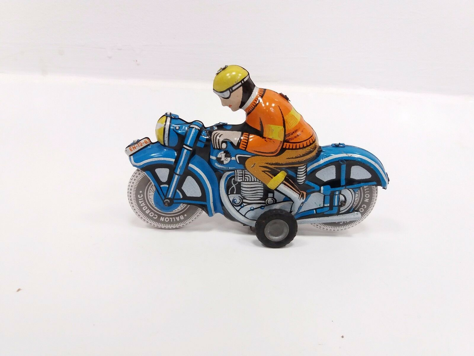 VINTAGE RARE OLD LEMEZARY GYAR SPORTS TIN TOY MOTOR MOTORCYCLIST 1960's FRICTION