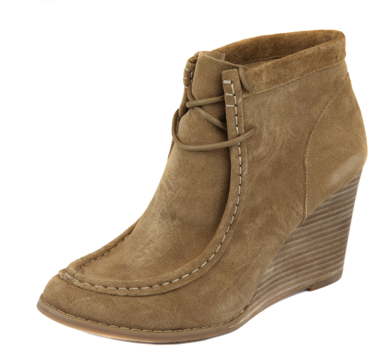Lucky Brand Women's Sesame Tan Ysabel Lace Up Wedge Bootie shoes Ret  129 New