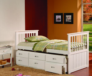 Kings brand captains twin daybed with trundle bed and - White twin captains bed with drawers ...