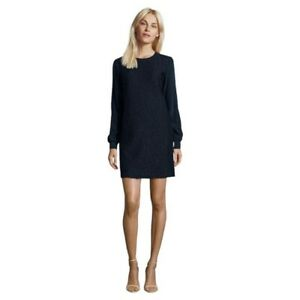 VINCE $425 Navy Blue Lace Overlay Silk Long Sleeve Shift Career Dress SZ XS