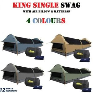 KING-SINGLE-Camping-Canvas-Swag-Deluxe-Tent-w-Air-Pillow-amp-Mattress-4-Colours