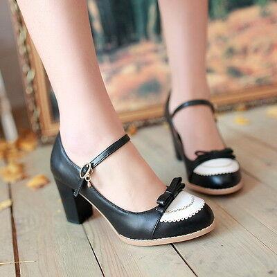 Womens Retro Girls Lolita Bow mary Janes Pump Vintage Shoes High Heels Plus Size