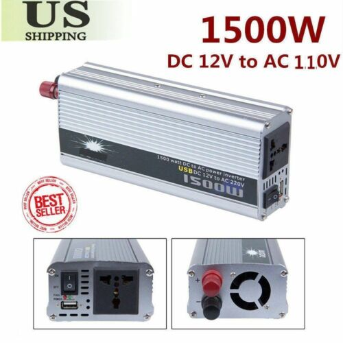 1500W WATT 12V DC TO 110V AC Car Truck Automotive POWER INVERTER Converter 50HZ