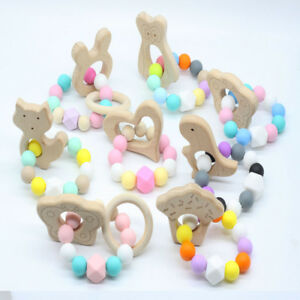 Animal Wooden Teether Baby Chewable Teething Bracelet Silicone Beads Rattle Toys