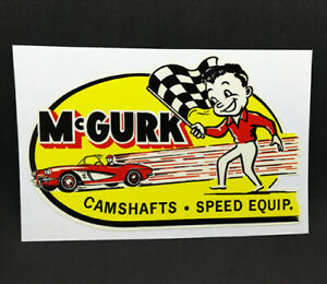 McGurk Camshafts Vintage Style DECAL, Vinyl STICKER, rat rod, hot rod, racing