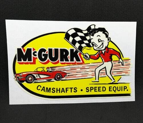 McGurk Camshafts Vintage Style DECAL, Vinyl STICKER, rat rod, hot rod, racing