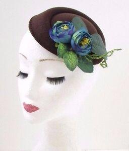 Details Zu Braun Blaue Blume Pillbox Hut Fascinator Rockabilly Vintage Haare Rennen 1940s