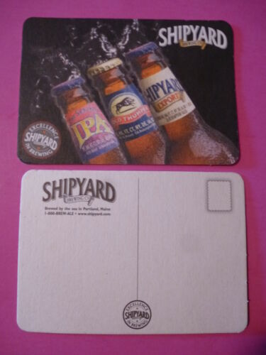 MAINE IPA Beer Postcard Coaster ~ SHIPYARD Brewing Co Old Thumper ~ Portland