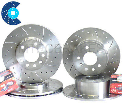 BMW 3 Compact E36 318ti 94-98 Rear Brake Discs Drilled Grooved Gold Edition