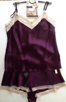 M&s Purple Silk Camisole & French Knickers Uk 12 Rosie Autograph Rrp £55