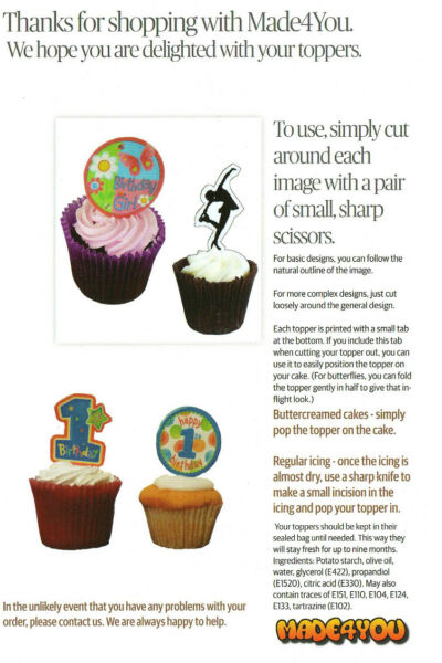 Happy Birthday Dad Edible Cupcake Toppers Stand Up Fairy Cake Bun