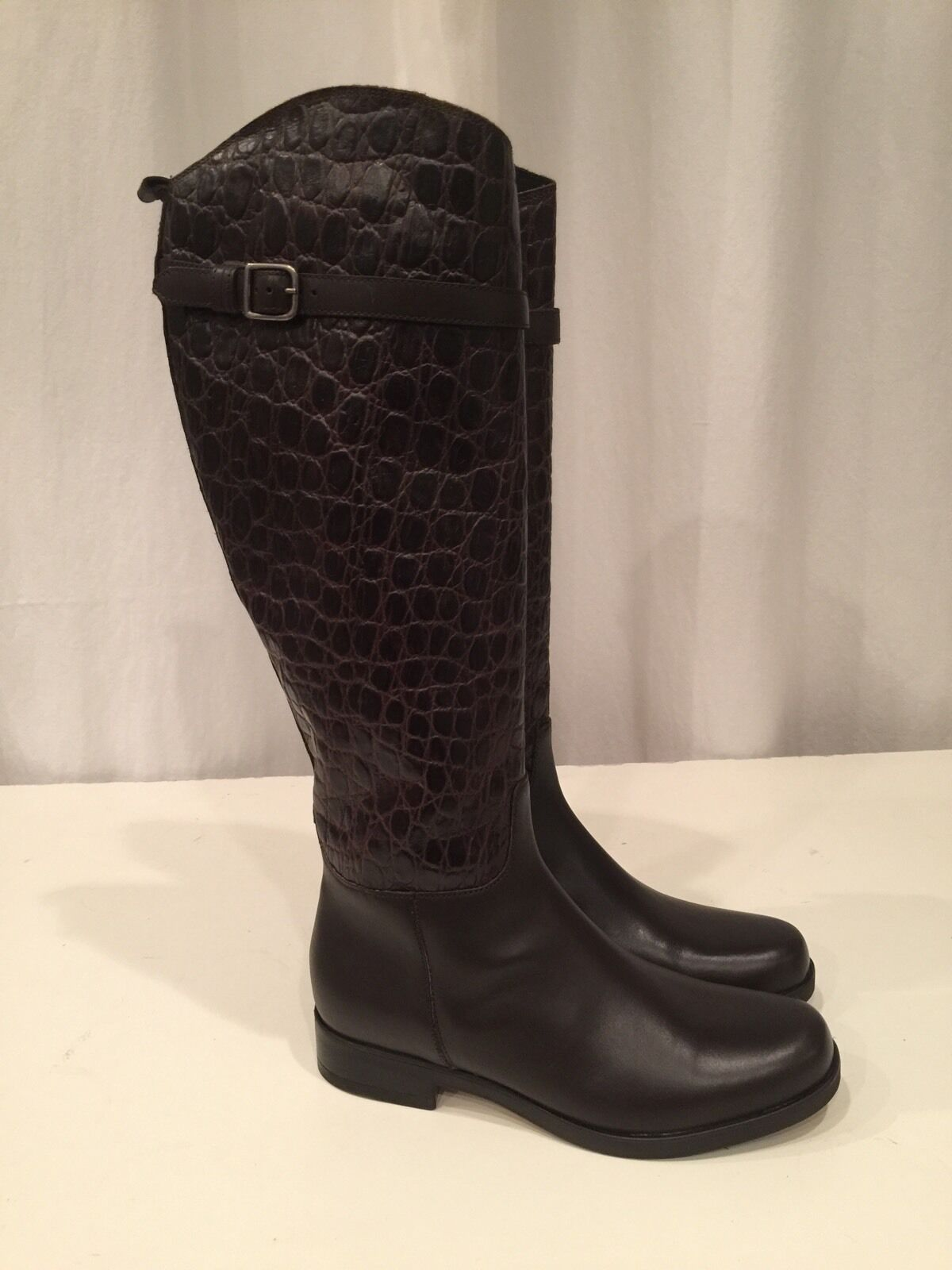 New CLARKS HOPEDALE WISH Brown Leather Tall Riding Boots Size 7.5 M