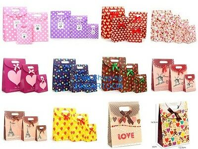 Colorful Lovely Bowknot 16.5x12.5CM Gift Paper Bag Party Stick Handle Bag