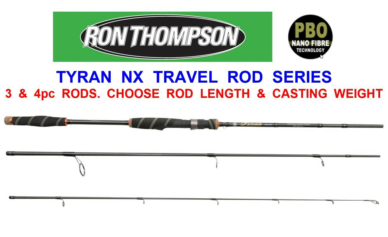 RON THOMSON TYRAN NX NANO CARBON TRAVEL ROD SEA COARSE FISCHEREI BASIS PIKE TROUT