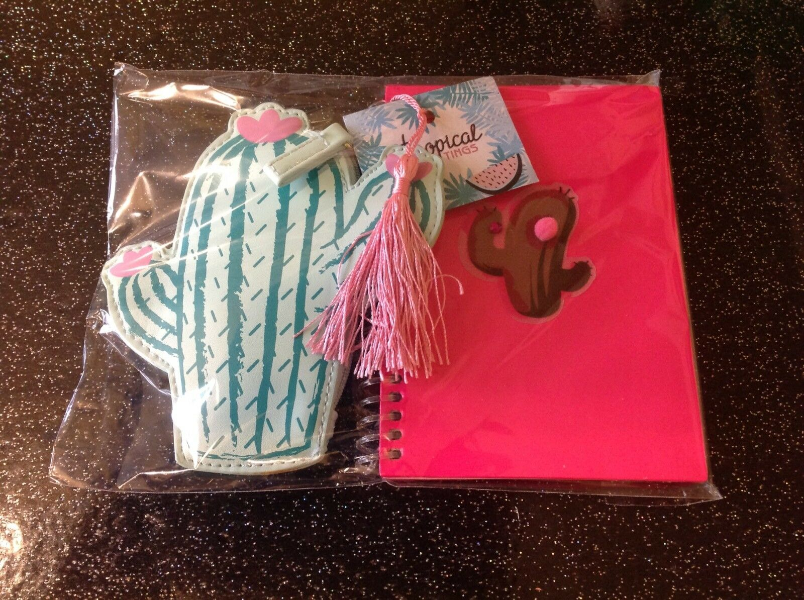 Retro Kitsch Pink Cactus A6 Wiro Notebook +Faux Leather Purse 2 Piece Gift Set