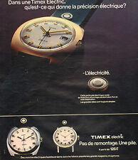 Publicité Advertising 1973 Montre Timex Electric Pas de remontage Une pile