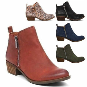 b2ede9096ebc Women s Low Chunky Heel Zipper Ankle Boots PU Suede Round Toe Casual ...