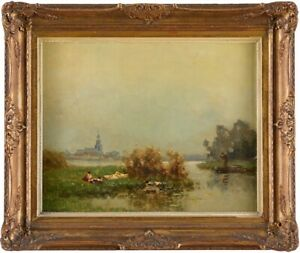 Olgemalde-Hollandische-Flusslandschaft-Gemalde-Leinwand-Knikker-Jan-Simon