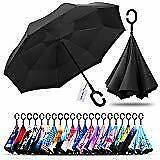 Windproof Double Layer Folding Inverted Umbrella, Self Stand Upside A Black