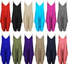 Ladies Plain Sleeveless V Neck Cami Romper Baggy Harem Jumpsuit
