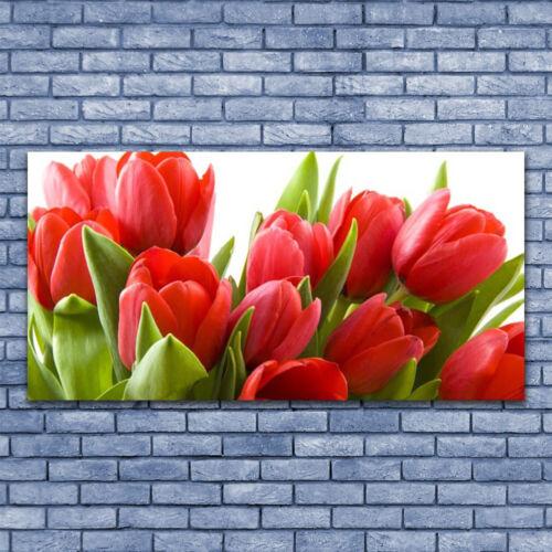 Tulup Leinwand-Bilder Wandbild Leinwandbild 140x70 Tulpen Pflanzen