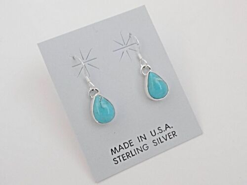 Sterling Silver Native American Navajo Handmade Turquoise Long Earrings Stamped