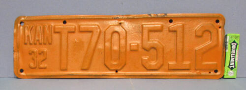 1932 KANSAS AUTOMOBILE CAR * TRUCK LICENSE PLATE * TAG * T70-512 * FREE USA SHIP
