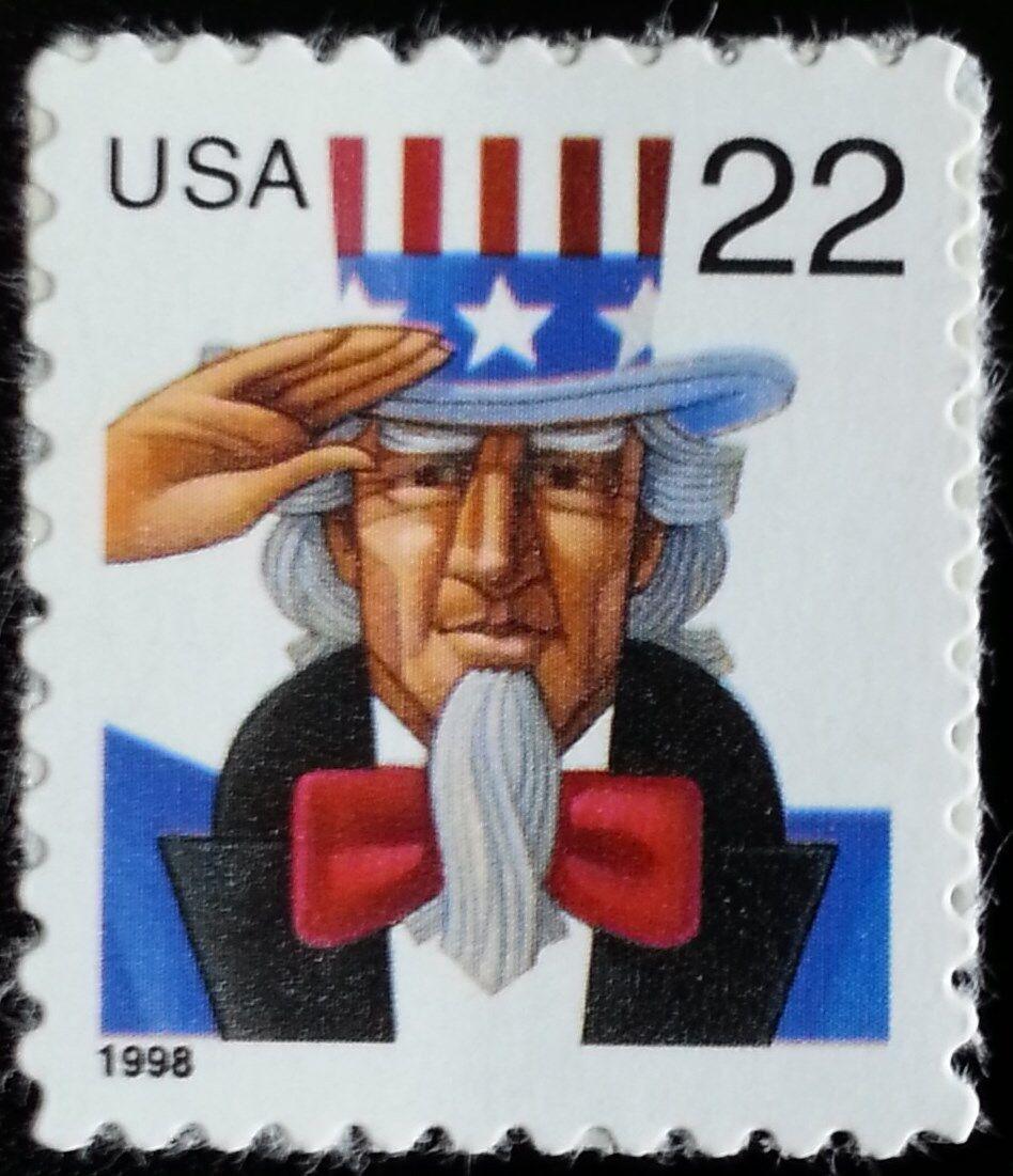 1998 22c Uncle Sam Red, White & Blue, SA Scott 3259 Min