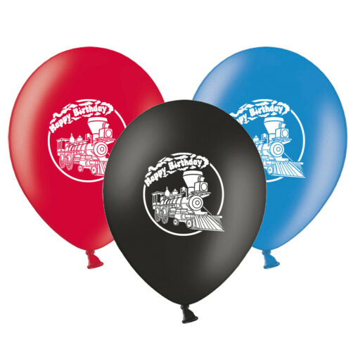 """Train Steam Engine  Happy Birthday  12/""""   Assorted Latex Balloons pack of 6"""