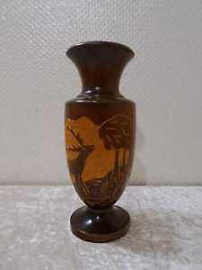 Legno Vaso Foresta Nera Motivo Cervo - Vintage - Handgefertigt