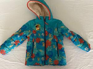 Moana Disney store puffer jacket fleece lined with hood size 4