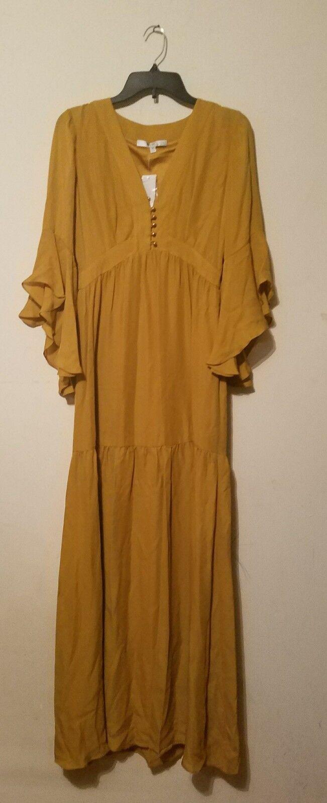 Bagley Mischka Silk Maxi Dress Yellow Sz 4