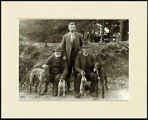 LURCHER-GREYHOUND-MEN-DOGS-HUNTING-GREAT-PHOTO-PRINT-MOUNTED-READY-TO-FRAME