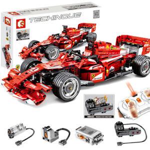 Baukästen rote Rennwagen Fernbedienung F1 Figur Spielzeug Geschenk Modell
