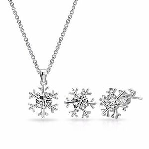 Image Is Loading Silver Snowflake Necklace Earrings Set Crystals From Swarovski