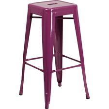 Flash Furniture 30in High Backless Purple Indoor-Outdoor Barstool NEW