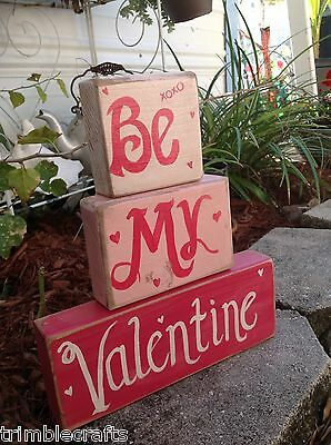 Be My Valentine sign wood block Valentine's Day decor gift handmade in USA
