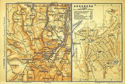 Annaberg, Alter Farbiger Stadtplan, Gedruckt Ca. 1900